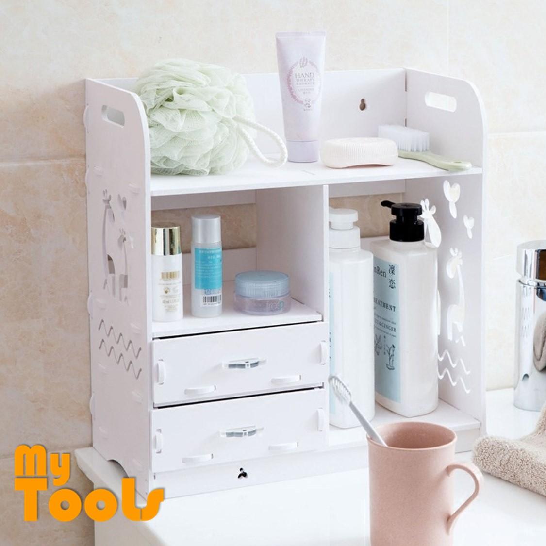 Mytools WPC Wood Plastic Board Cosmetic Shelf Desktop Organizer Storage stationary Rack