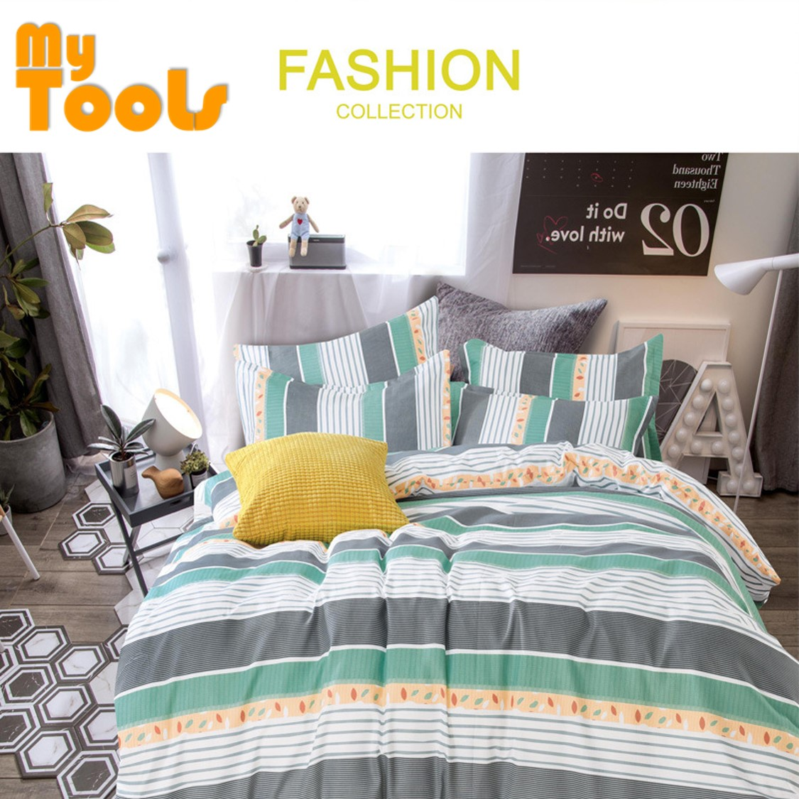 Mytools 4 In 1 100% Cotton Premium BedSheet Queen Size / King / Single Fitted Bedsheet / Cadar c/w Pillow Case & Bolster ( 20 Pattern ++)