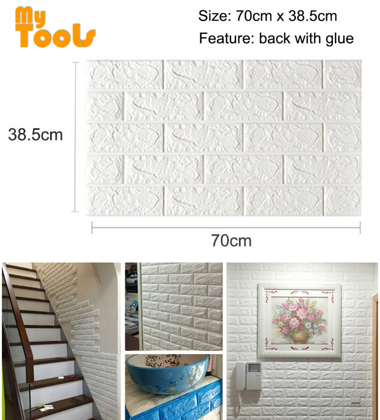 Mytools 1pc 70x39cm PE Foam 3D Wall Stickers Home Decor Wallpaper DIY Wall Brick Living Room Kids Bedroom Decorative Sticker