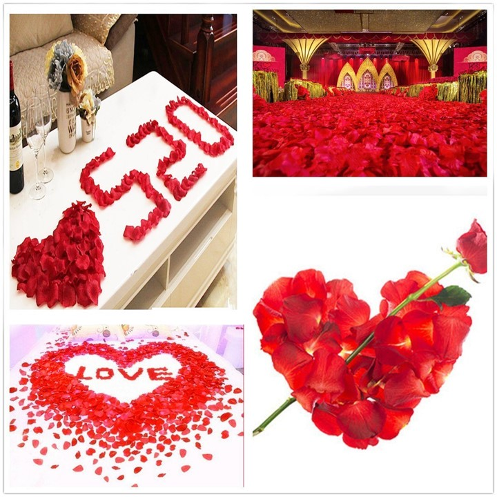 Mytools 100pcs Silk Rose Petals Red Artificial Flower Plastic Petals Confetti for Wedding Valentine Party Celebrations Decoration