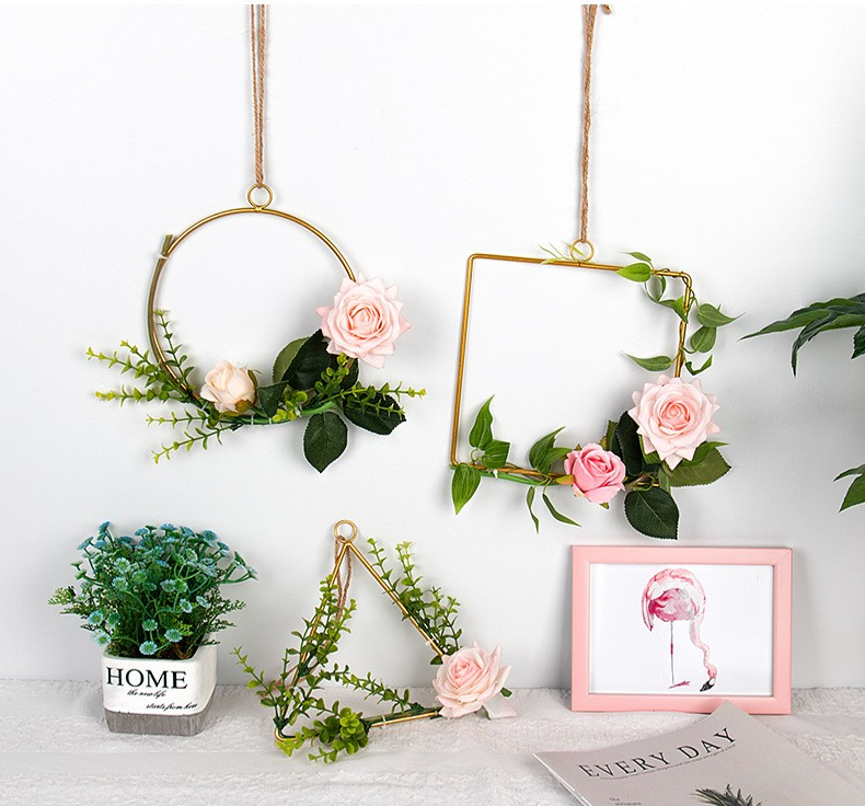 Mytools 3 In 1 Wall Decoration Artificial Flower Geometric Metal Wire Wreath Hoop Garland Hanging Frame