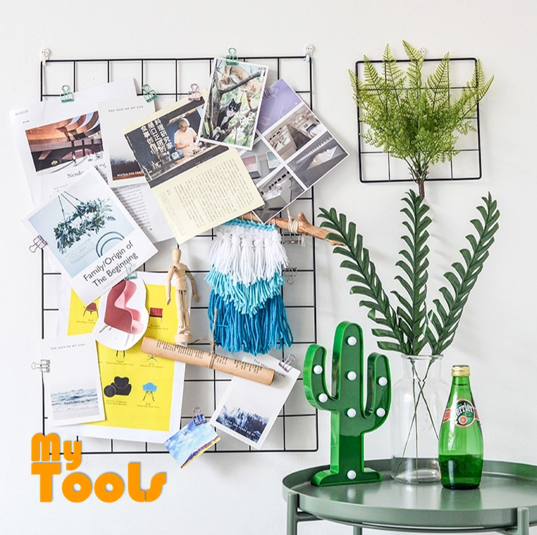 Mytools 30x60cm or 20x20cm DIY Grid Photo Iron Frame Wall Shelf Wall Mounted Mesh Display Panel Art Display Organizer