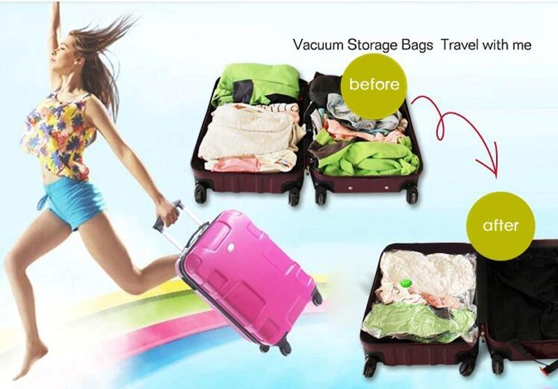 Mytools Reusable Vacuum Bag Zip Lock Plastic Seal Compression Storage Transparent Foldable Travel Luggage Organizer Bag - Various Size