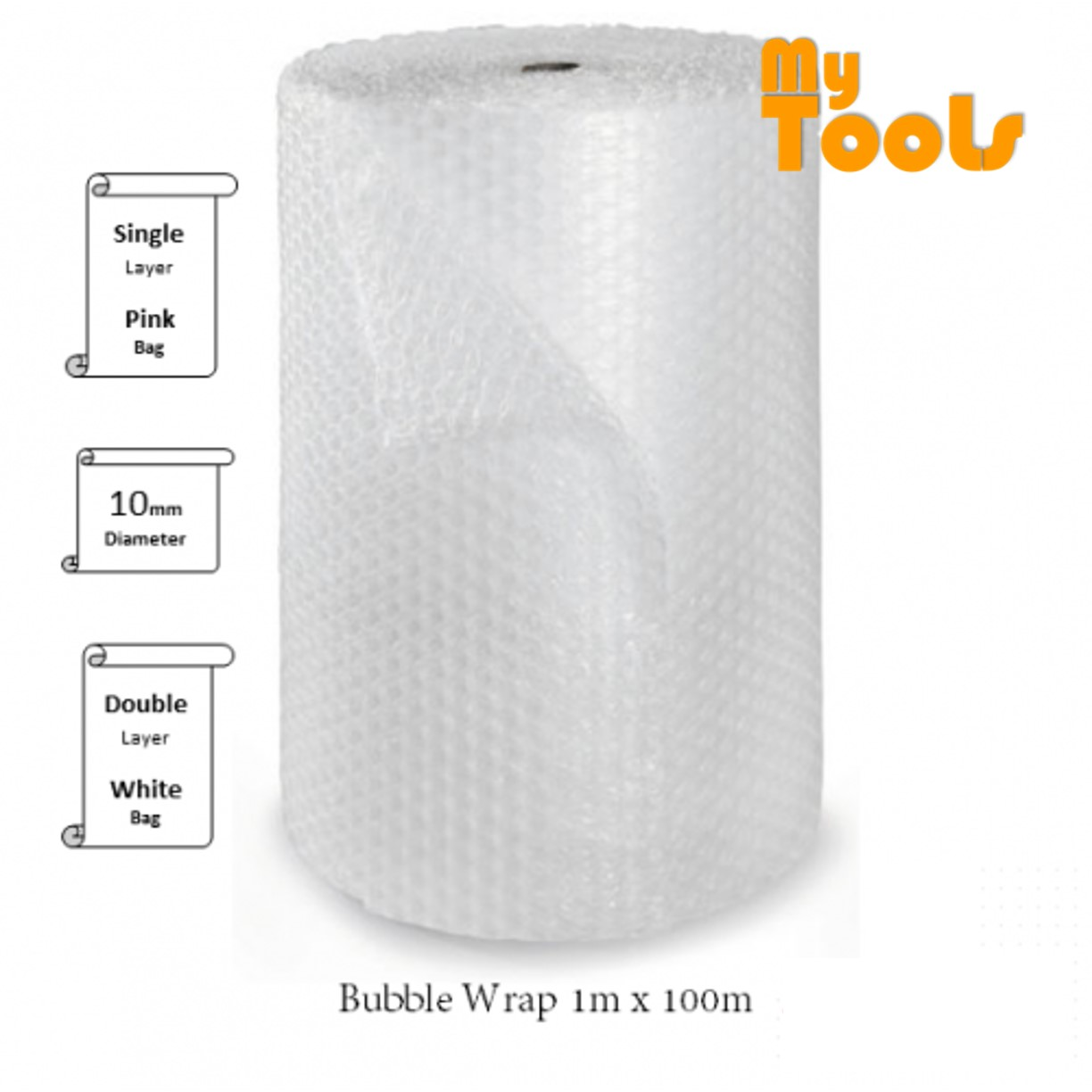 Mytools 1 Meter x 100 Meter Single Layer Bubble Wrap