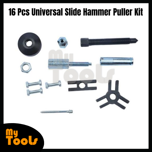 Mytools 16 Pcs Universal Slide Hammer Puller Kit Axle Bearing Hub Auto Set with Internal External Jaw Car Vehicle Tool