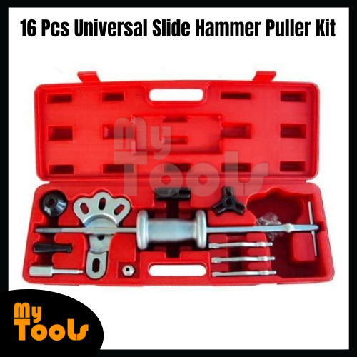 Mytools 16 PcsUniversal Slide Hammer Puller Kit Axle Bearing Hub Auto Set with Internal External Jaw Car Vehicle Tool Adapter