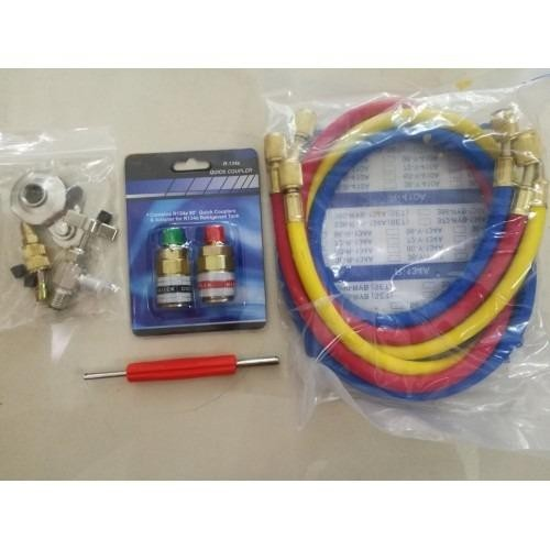 "R12 / R22 / R134a / R404a / R502 Brass Manifold Gauge Set with 30"" hoses (Accessories Added)"