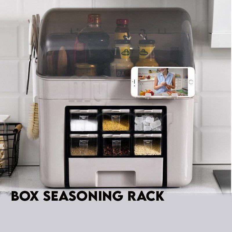 Mytools Waterproof Compact Kitchen 6 Grid Seasoning Rack Spice Rack Seasoning Organiser Storage Knife Slot Tools Hanger