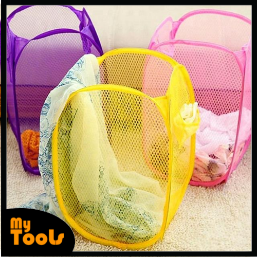 Mytools Handheld Laundry Bag Basket Foldable Lightweight Laundry Hamper Net with Handle for Dirty Clothes Organiser