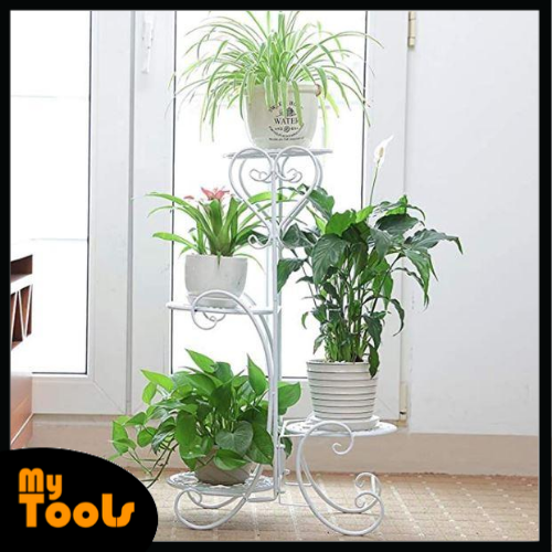 Mytools 4 Tier Metal Plant Stand Flower Pot Shelf Indoor Classic Holder Outdoor Displaying Multiple Plants Flowers