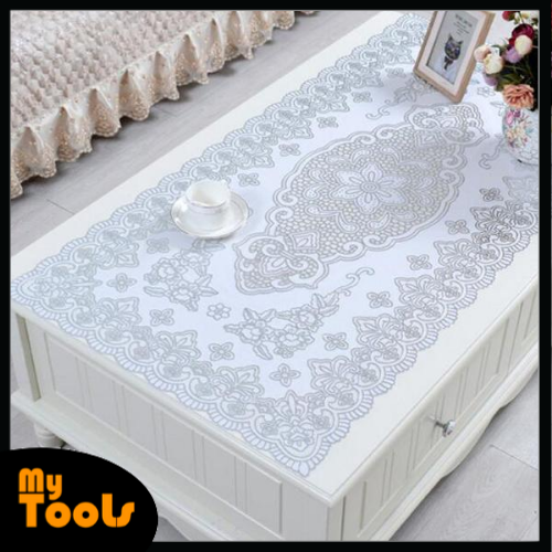 Mytools PVC Embroidered Table Cloth Place Mat Waterproof Oil Repellent Table Cover with Gold/Silver Lace