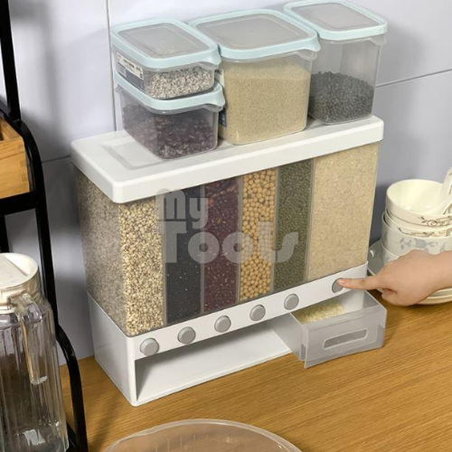 Mytools 10L Dry Storage Container Dispenser With Cover Button Partition Wang Mounted For Rice Spice Cereal