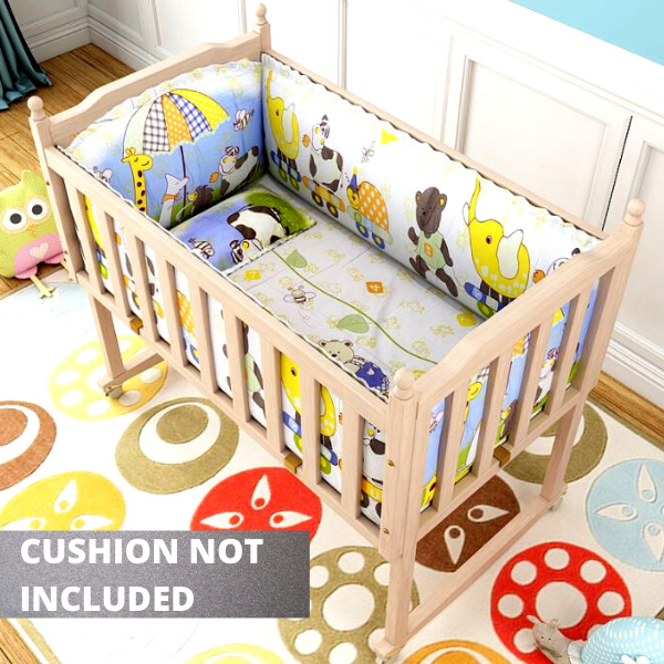 Mytools Solid Natural Wooden Baby Bed Rocking Cradle Cots with Wheels + Mosquito Net + Net Stand + Hard Wood Base