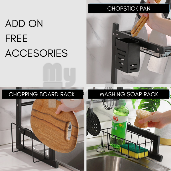 Mytools Above the Sink Dish Rack Stainless Steel for Bowl Plate Knife Holder Cutlery Soap Kitchen Organiser