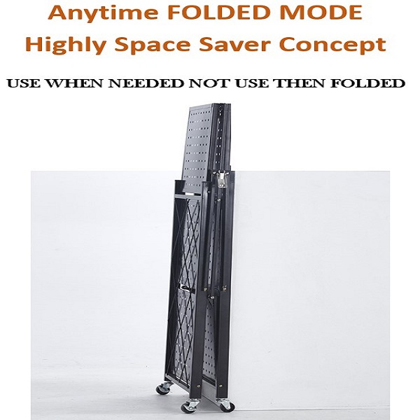 Mytools 5 Tier Foldable Multipurpose Collapsible Home Office Cart Storage Organizer Rack With Wheels (BLACK)