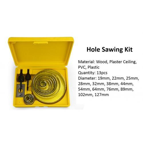 Hole Saw Kit 13pcs (For Wood, Plaster Ceiling, PVC, Plastic)