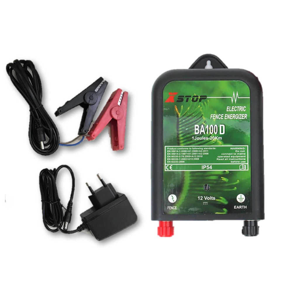 X Stop BA100 2 In 1 AC 240V / DC 12V Electric Fence Energizer 20km / 1.2 J (New Zealand) Pagar Elekt
