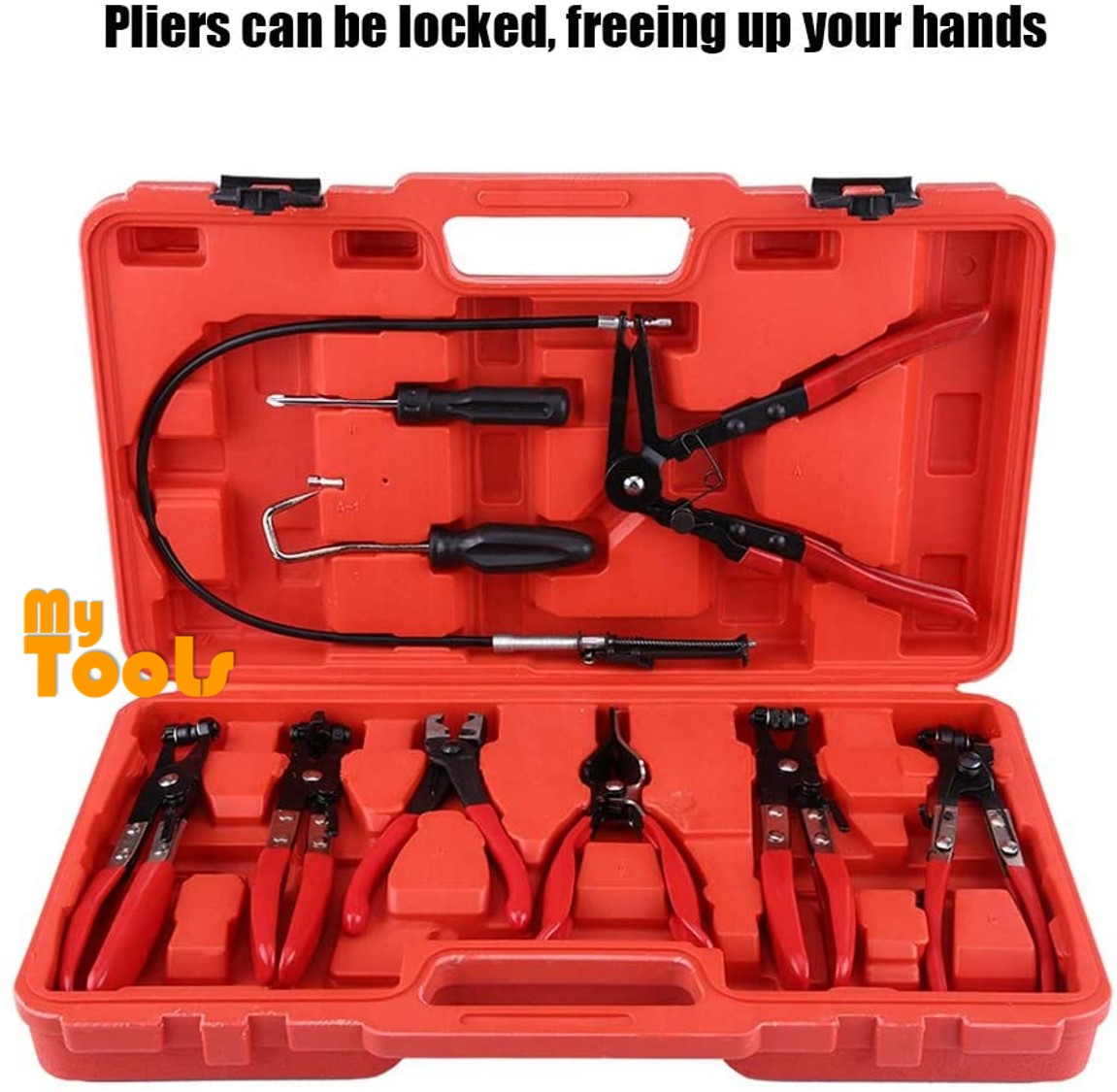 Mytools 9pcs Hose Clamp Pliers Kit Flexible Wire Long Reach Set Swivel Jaw Flat Angled Band Clip Plier with Carry Box Automotive Repair Tools