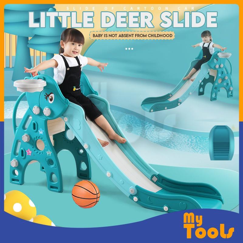 Mytools Indoor Outdoor Children Slide Home with Basket Ball Frame Hooks, Basket Ball Playset