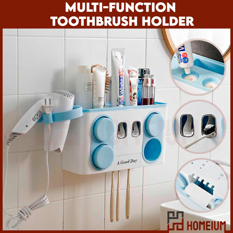 Smart Multifunctional Wall Mounted Toothbrush Holder with Automatic Toothpaste with Cup