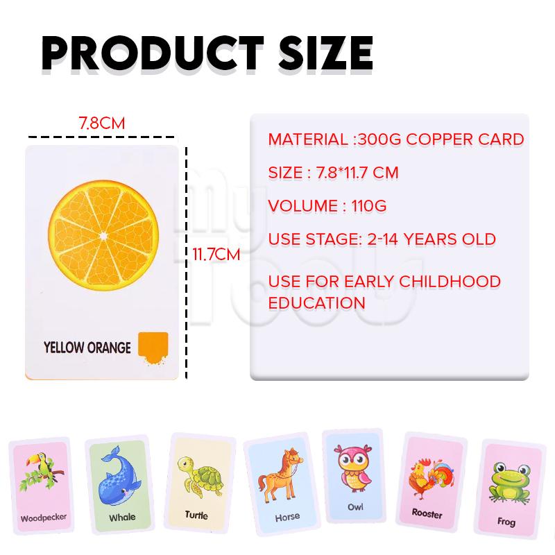 Mytools 36Pcs/Set Cartoon Animal Color English Print Flashcard Education Baby Toy Learning English Ability Early Learning toys