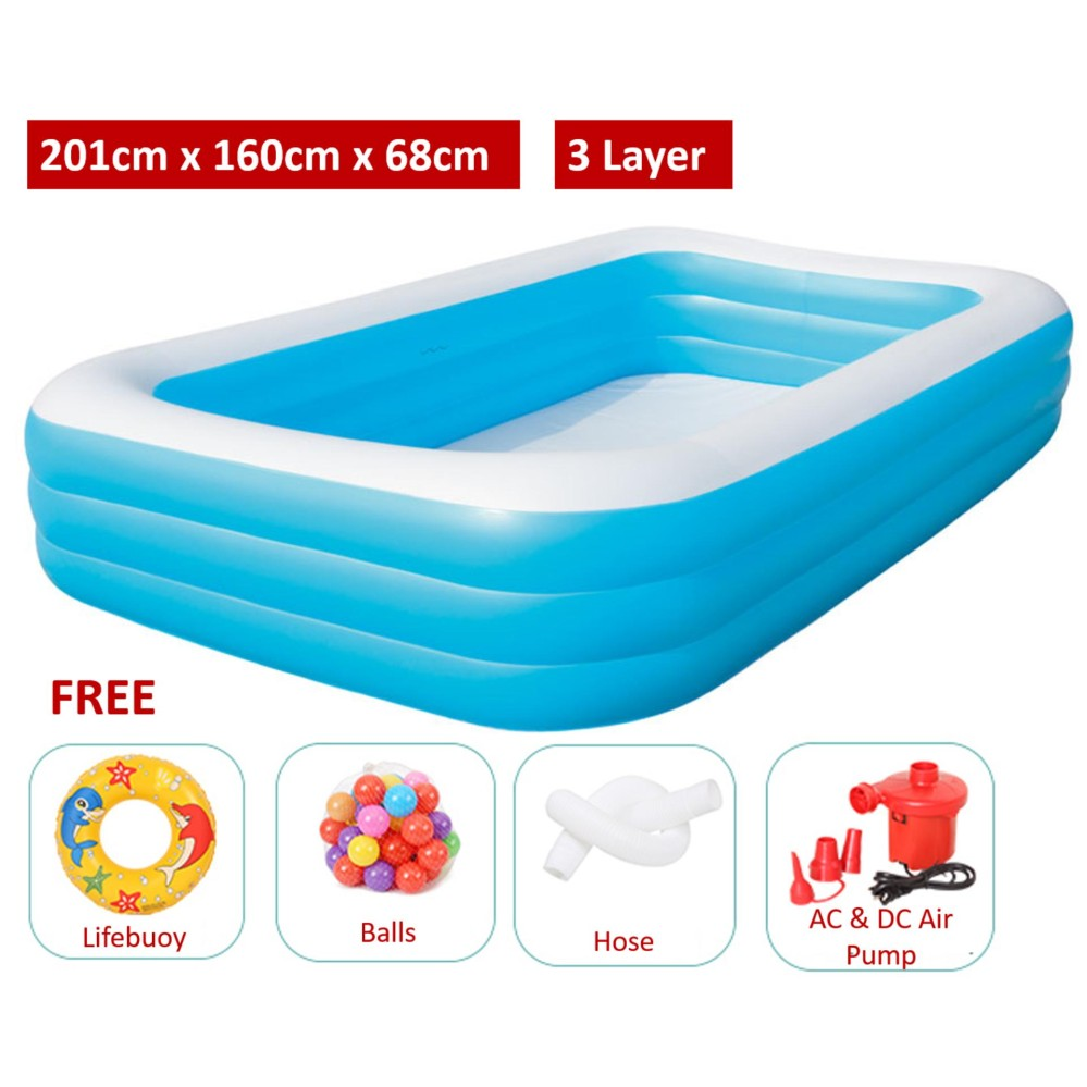 3 Layers 2.01 Meter Large Inflatable Swimming Pools 3 Layers - (Blue with White top) - Premium
