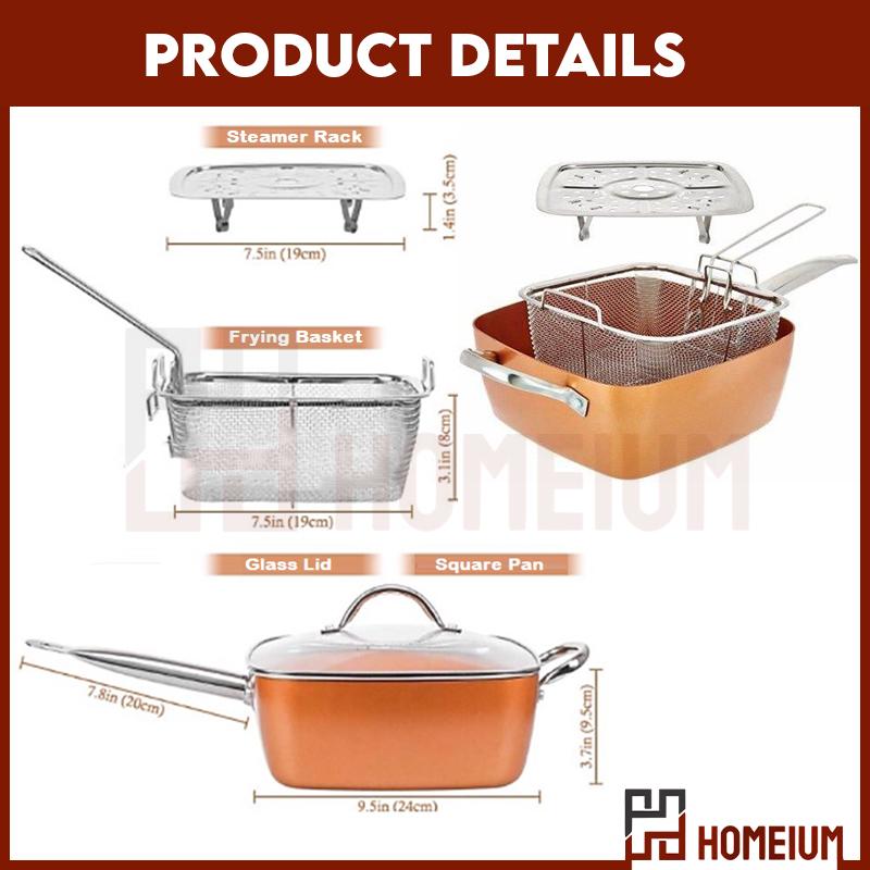 Mytools Copper Square Casserole Pan Set (4pcs) Non Stick Copper Ceramic Deep Fried/Steam/Fry/Cook