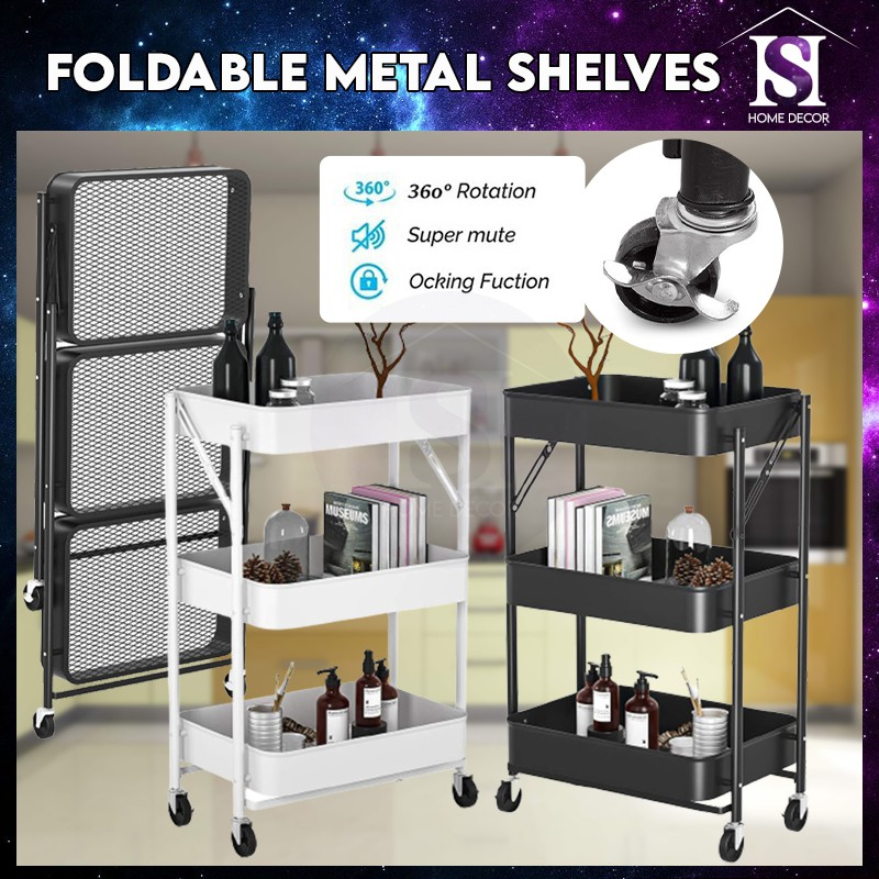 Mytools 3 Tier Foldable Metal Rolling Storage Utility or Kitchen Cart with Wheels