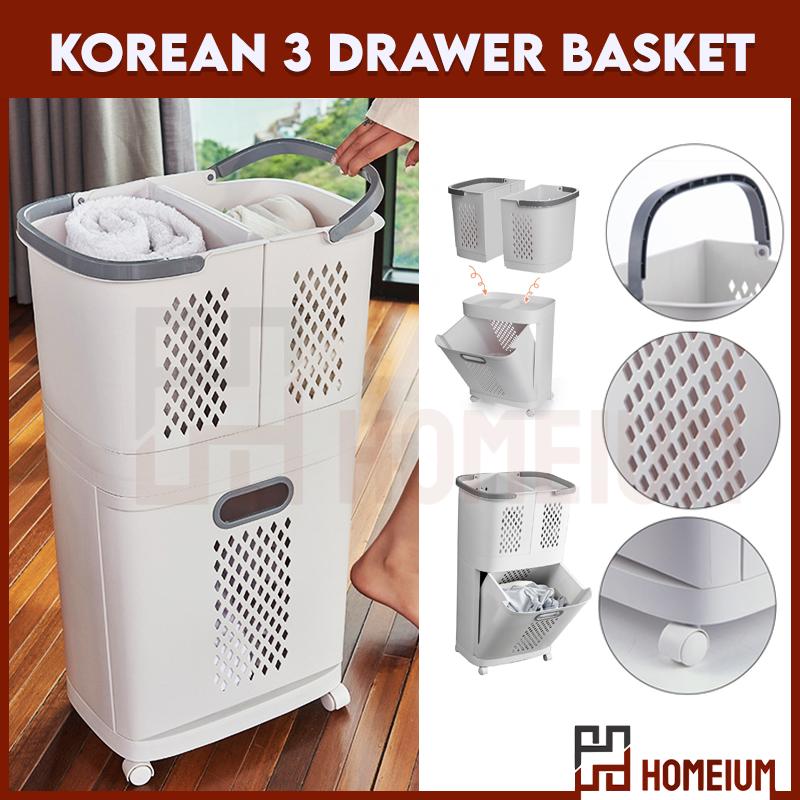 Movable Laundry Basket Bathroom Slot Storage / Bakul Pakaian Moden