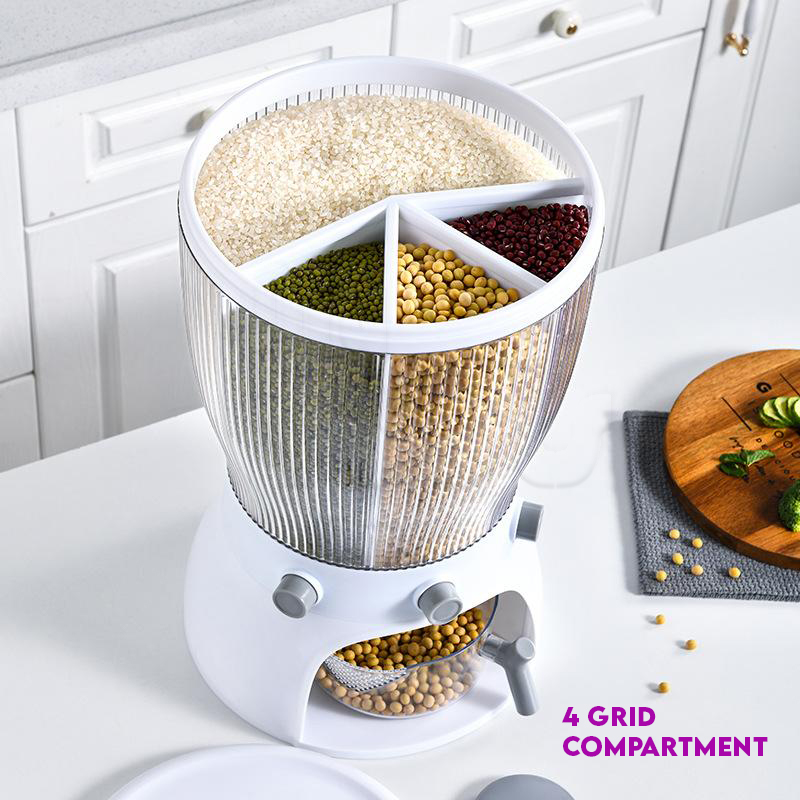 Mytools Multifunctional (4/3 Grid) Rotating Food Storage Box With Lid Moisture Insect Proof Grain Organize Rice Bucket