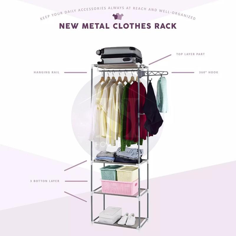 Homeium Multipurpose Storage Cloth Shoes Rack Organizer With Hanger / DIY Extra Large Laundry Hanger Wardrobe Garment