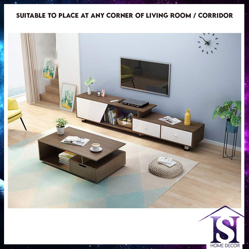 Modern Style TV Console Cabinet with Expandable Entertainment Unit Multifunctional TV cabinet