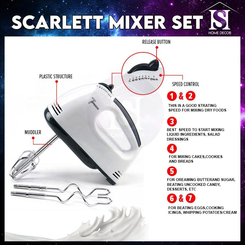 Mytools Scarlett Super 7 Speed Hand Mixer 2L Detachable Stainless Steel / Plastic Bowl Egg Beater Mesin Pengadun