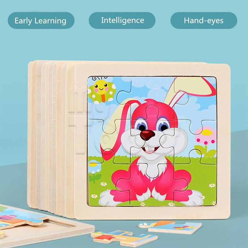 Mutools 9pcs Wooden Mini Puzzle Animal Cartoon Early Education Toys