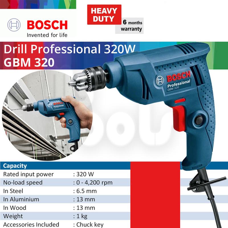 BOSCH GBM320 Professional 320W Electric Rotary Hand Drill - 6 Months Supplier Original Warranty