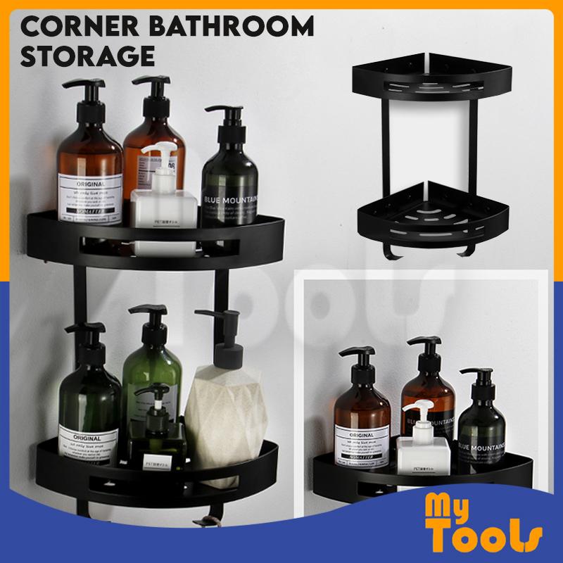 Bathroom Storage Rack Toilet Shelf Organizer Shower Black Corner Shelves Wall Mounted Rak Bilik Mandi