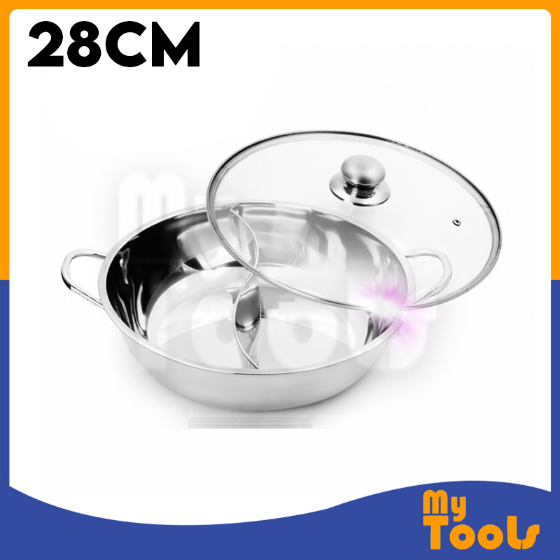 2in1 Stainless Steel Steamboat Hotpot 2 Compartments Pot 2 Sided Periuk Masak Sup Steamboat Periuk 2 bahagian
