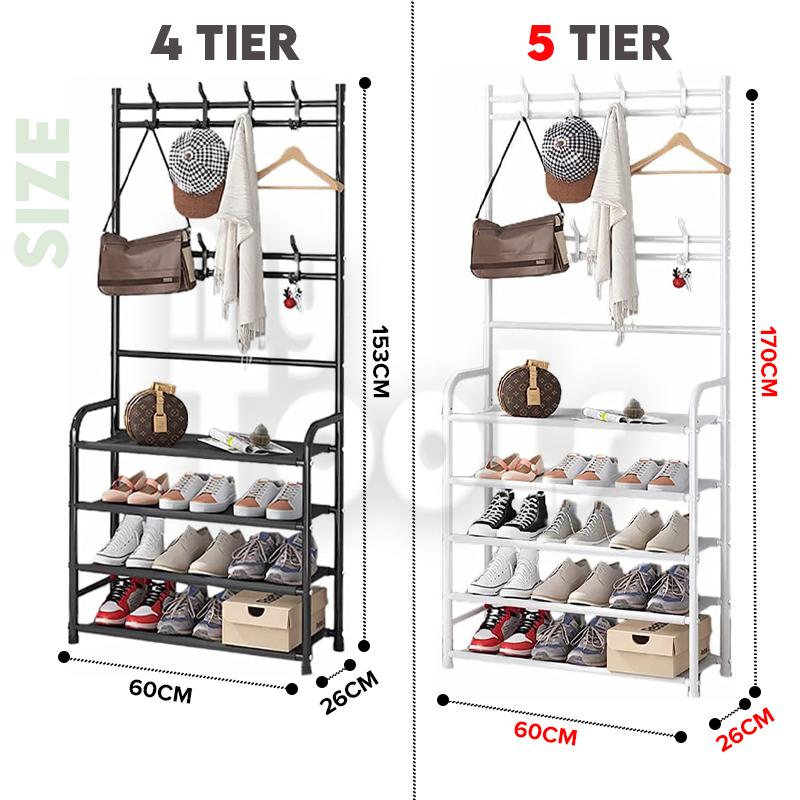 Mytools Multifunctional Coat Rack Clothes Hanger Bag Hanger 4/5 Layer Shoe Rack Shelf / Rak Pakaian Rak Kasut Rak Beg