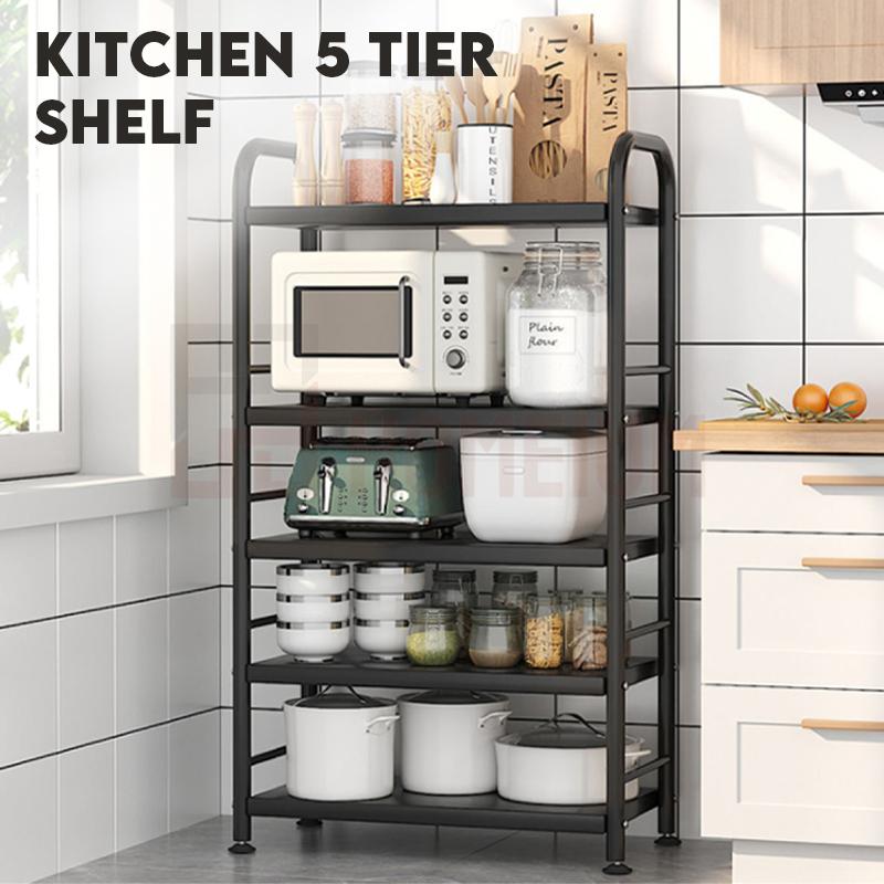 Adjustable Height Kitchen Organizer Microwave Oven Storage Rack Rak Besi Serbaguna Dapur Spice Organizers Shelf Shelves