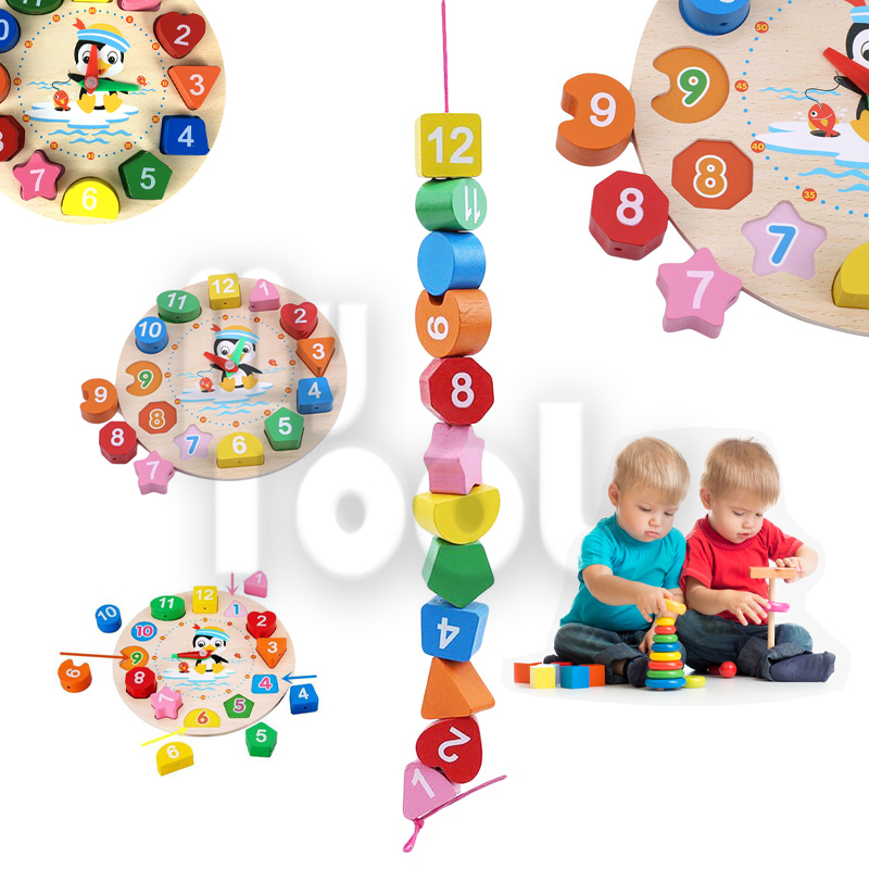 Mytools Kids Early Learning Montessori Toy Macaron Colourful Wooden Clock Number Shape Puzzles