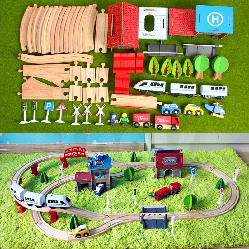 Mytools Wooden Electronic City Train Track Railway Play Set Toy Battery Operated Train For Kids