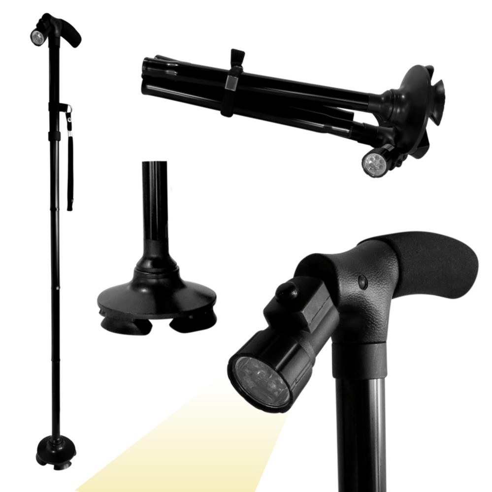 Ultimate Magic Cane Crutch, Walking Stick Adjustable Heights Foldable Flexible With LED And Extra Bi