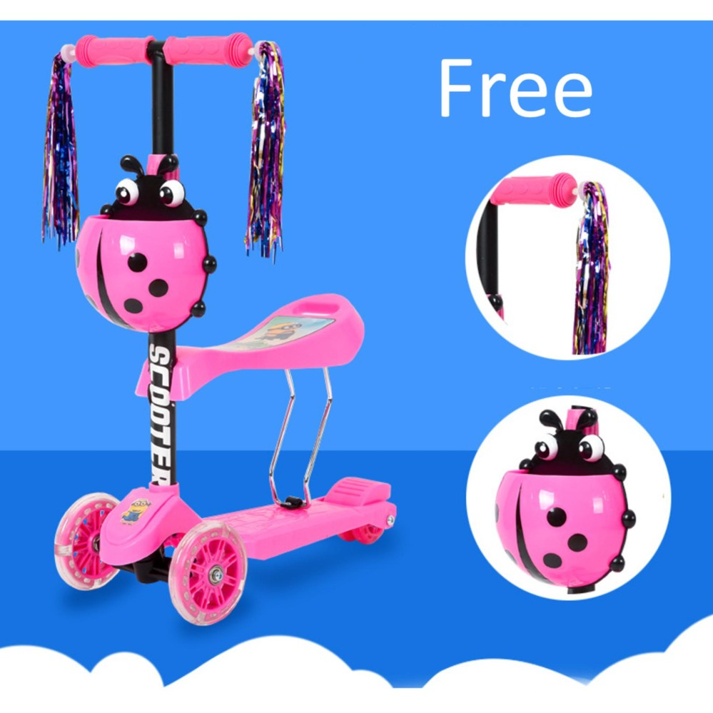 Kids Children 3 in 1 Bugs Mini Kick Scooter w Adjustable Seat & Colorful Wheel
