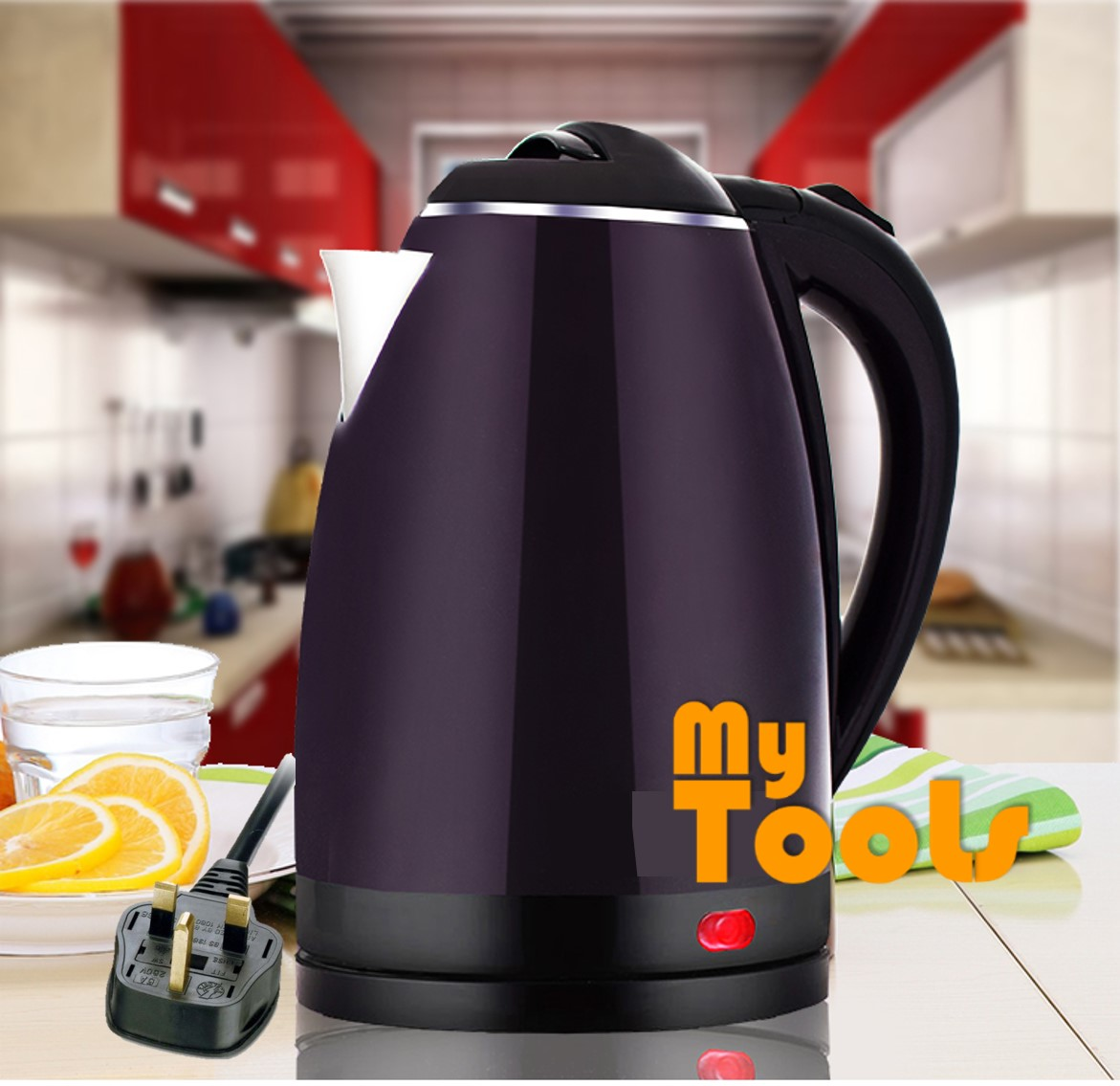 Premium Stainless Steel Electric Automatic Cut Off Jug Kettle (Malaysia 3-Pin Plug)