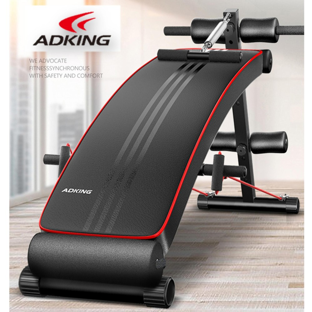 Adking Premium Advanced Multi-Function Fitness Gym Sit Up Bench with Exercise Rope and Spring Pull E