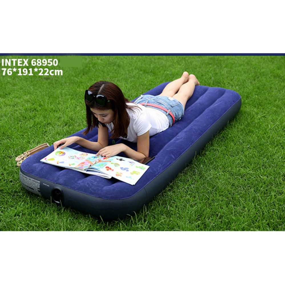 Intex Inflatable Flocked Air Bed Mattress - Single (76*191*22) + Free Electric Air Pump