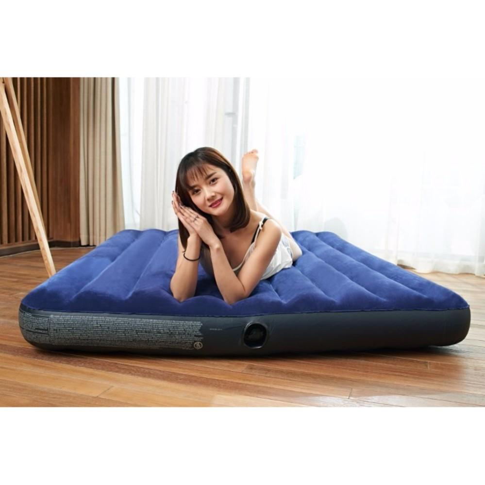 Intex Inflatable Flocked Air Bed Mattress - Queen (137*191*22) + Free Electric Air Pump