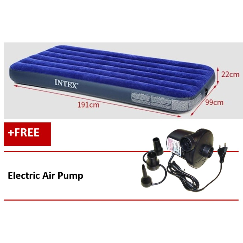 Intex Inflatable Flocked Air Bed Mattress Twin (99*191*22) + Free Electric Air Pump