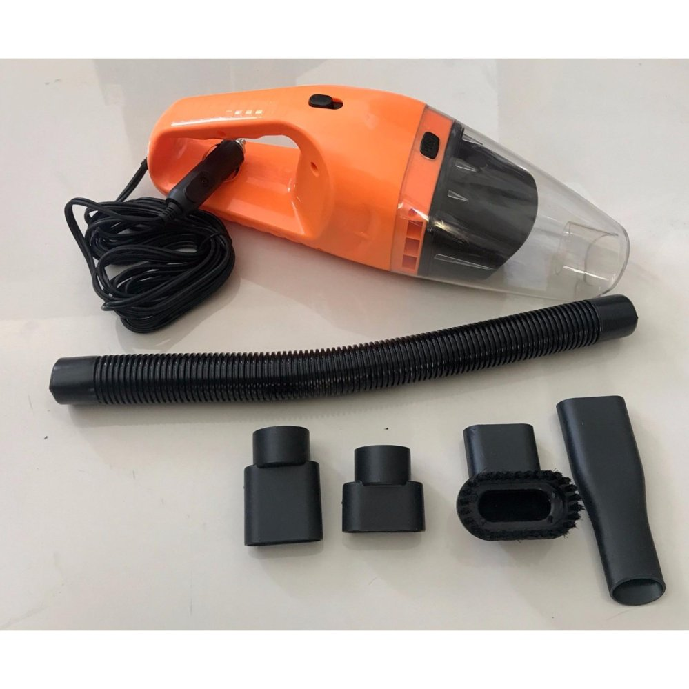 120W 12V Car Wet Dry Vacuum Cleaner With  Hepa Filter & Accessories (Orange)