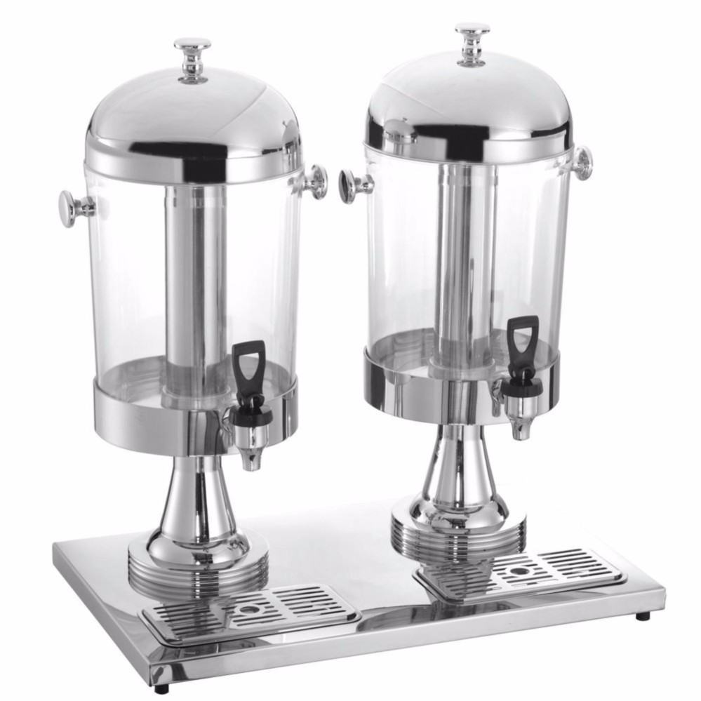 16L 8L x 2 Stainless Steel Double Bowl Juice Dispenser